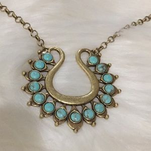 NWT Lucky brand gold tone long necklace turquoise